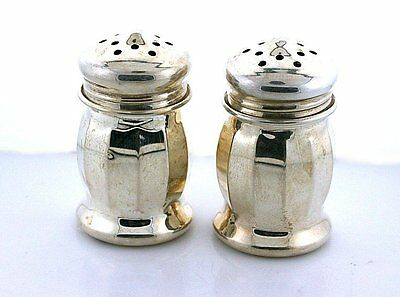 One Pair Vintage Sterling Silver Salt and Pepper Shakers Antique 1940's EBS7317