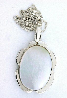 Mother Of Pearl Cab Cabochon Gem  .925 Sterling Silver Pendant 18 Inch Chain