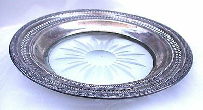 6 1/2 Inch Vintage Whiting Talisman Rose Pure Sterling Silver Glass Plate AS114