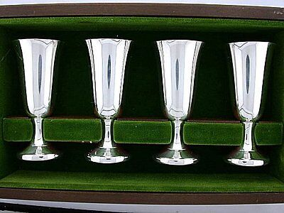 WALLACE PURE STERLING SILVER CORDIAL SET OF 4 ORIGINAL WOOD BOX ebs5669