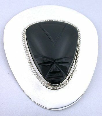 VERY Large Carved Black Onyx Face Pure Solid 925 Sterling Silver Pin Brooch 5310