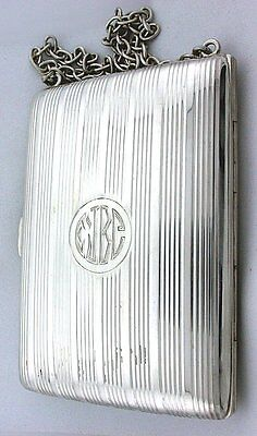 VINTAGE 100 YEAR OLD ANTIQUE PURSE .925 STERLING SILVER LEATHER INSERT ebs3258