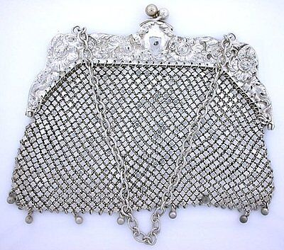 1880 LARGE ORNATE VICTORIAN ANTIQUE STERLING SILVER PURSE HALLMARKED W ebs5407