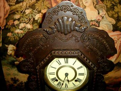 Antique 1800's ANSONIA Gingerbread Mantle Clock-WORKING -with Pendulum &Key