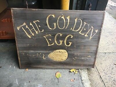 c1960-70 wooden double sided The Golden Egg sign hand carved 36 x 27 thrift shop