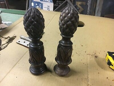 "pair antique finials black walnut carved pineapple detail 10"" high x 2.75"" dia"