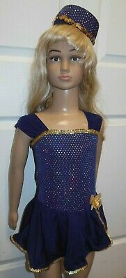 NWT Small ch Dance COSTUME w/HAT Navy Gold Metallic Rose Girls 4-6 Dance Pageant