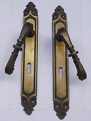 Vintage Pair Solid Brass Door Lever Handles Set on Backplates # Free Shipping