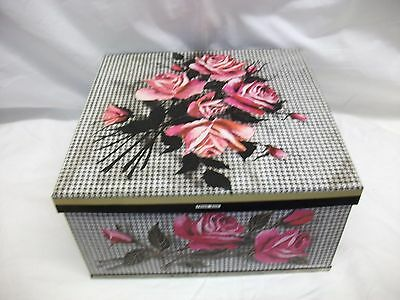 Vintage Storage Large Biscuit Tin ~ Huntley U0026 Palmers ~ Tweed Rose 1966