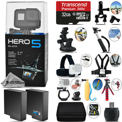 GoPro Hero 5 Black 4K Ultra HD Camera + Extra Battery & Much More! -32GB Kit