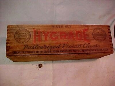 Hygrade Cheese Dovetailed  wood box  vintage old graphics 5 Lbs