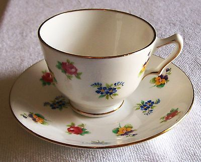 Crown Staffordshire Fine Bone China Teacup And Saucer Multi Color Small  Flowers