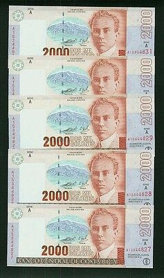 Costa Rica 1997  2,000 Colones  Banknotes,  Choice Uncirculated, Lot Of (5)