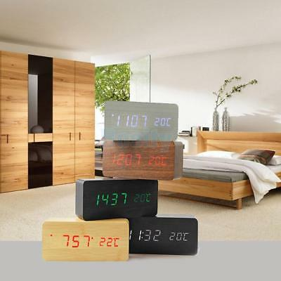 Voice Control Calendar Thermometer Wooden LED Digital Alarm Clock USB/AAA Power