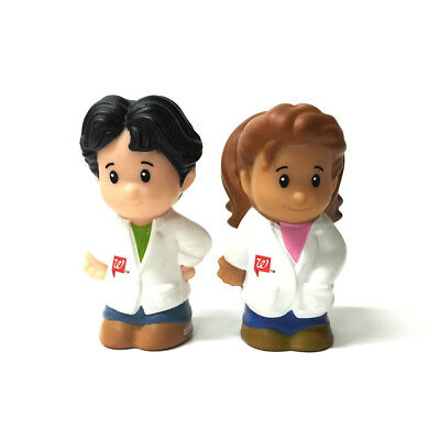 rare Lot 2PCS Doll Fisher-Price Little People Lady & Sir Doctors figure Baby Toy