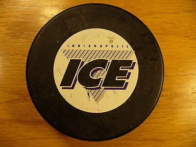 IHL Indianapolis Ice Small Logo PW Official Game Hockey Puck Collect Pucks