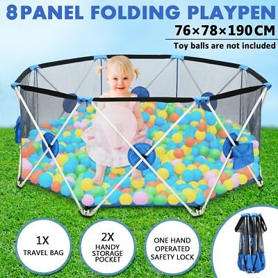 Pop up Pet Child Playpen Folding Puppy 8-Panel Baby Play Pen Metal Frame Outdoor