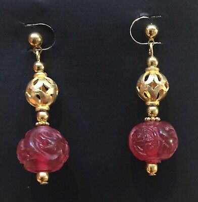 Vintage Chinese Carved Pink Tourmaline Peking Glass Earrings