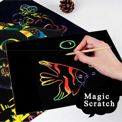 10Sheets Magic Scratch Art Painting Paper Drawing Stick Kids Educational Toy 16K