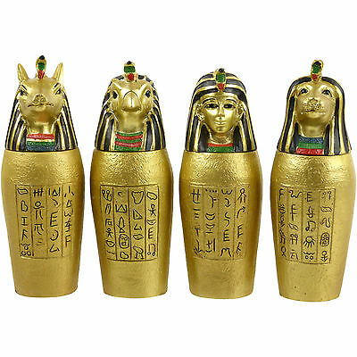 Set Of 4 Egyptian Gold Canopic Jars Ancient Egypt Egyptian Decorative Treasures