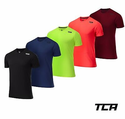 TCA Men's Grid Check Long / Short Sleeve Breathable T-Shirt Running Gym Top