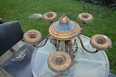 Antique Victorian Art Nouveau Wrought Iron & Brass Ornate 5 Light Chandelier