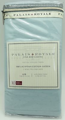 Palais Royale Hotel Collection 100%-Egyptian Cotton King Pillowcases, Light Blue