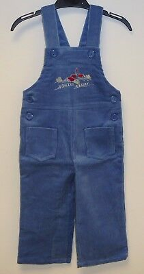 VINTAGE 1980's UNWORN BOYS FARMYARD EMBROIDERED CORDUROY DUNGAREES AGE 6 MONTHS