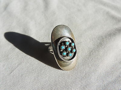 Vintage Jewelry Sterling Silver Turquoise Ring Sz 7 (id525)