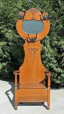 American Golden Oak Victorian Hall Tree Seat Ornate Iron Hooks w Shield c1900