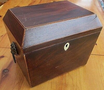 Georgian Antique c1820s  Mahogany Tea Caddy With Lift Out Liner