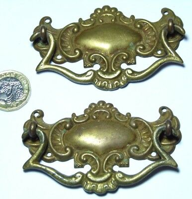 Pair Antique Victorian Pressed Brass Chest Drawers Pull Handles