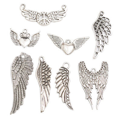 8pcs Silver Wings Shape Charms Pendants for Necklace Jewelry Making Crafts