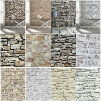 Arthouse Rustic Stone Effect Wallpaper - Brick, Morrocan Wall, Cornish Stone