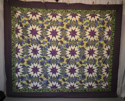 patchwork quilt stars purple grapes 2002 Byrd 76 x 90 hand made quilted