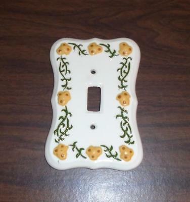 Vtg 1976 Porcelain Hand Painted Light Switch Plate Cover Yellow Flowers Used