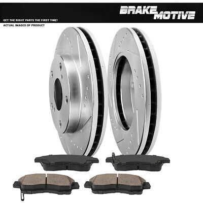 Front Drill Slot Brake Rotors And Ceramic Pads For 1992 - 1998 1999 Toyota Camry