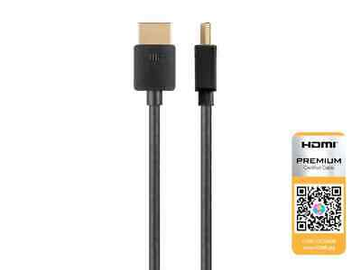 High Speed HDMI Cable - 8 Feet - Black| Certified Premium, 4K@60Hz, HDR, 36AWG