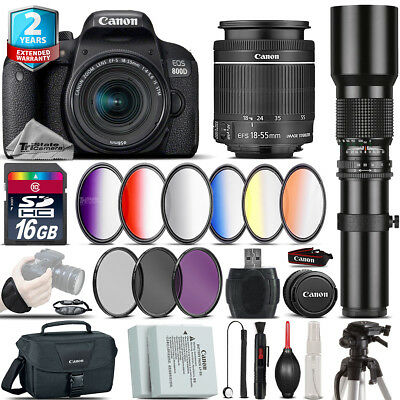 Canon EOS Rebel 800D T7i + 18-55mm IS STM + 500mm + 6PC Graduated Filter - 16GB