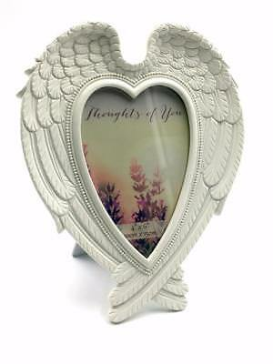 """Thoughts Of You Heart Shaped Angel Wing Photo Frame 4"""" x 6"""" 62372"""