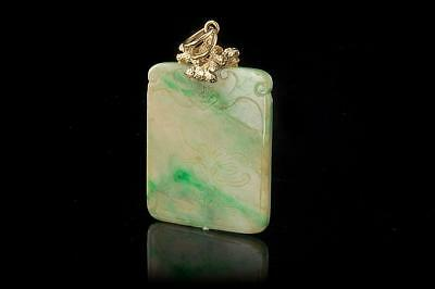 Antique Chinese Jade Carved 14K Gold Amulet Pendant (09021760)