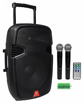 "Rockville 15"" Portable YouTube Karaoke Machine/System w/ 2 Mics See Description!"