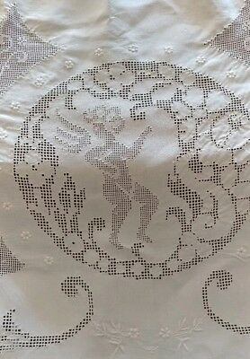"Antique Italian Figural Lace Linen Banquet Tablecloth 116""× 72"" GORGEOUS (#50)"