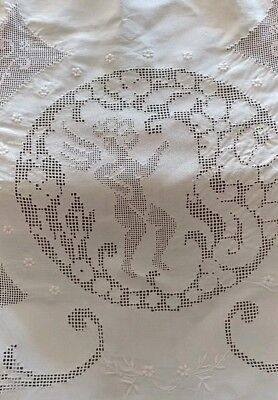 "SALE****Antique Italian Embroidery Lace Linen Large Tablecloth 116""× 72"" (#50)"