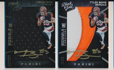 2016 Black Gold Silver /99  & Gold /225 Lot Of 2 Jersey Auto Tyler Boyd Bengals