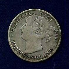 Canada Newfoundland Victoria  1885  20 Cents Coin About Vf