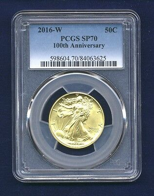 U.s. Walking Liberty 2016 Centennial Half-Dollar Gold Coin, Pcgs Certified Sp70