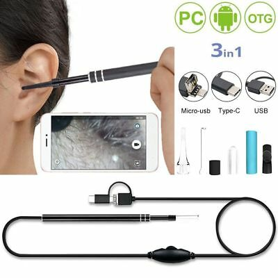 2 in 1 Ear Inspection  Endoscope HD LED Camera Borescope Waterproof Cleaning
