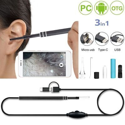 3 in 1 Ear Inspection  Endoscope HD LED Camera Borescope Waterproof Cleaning