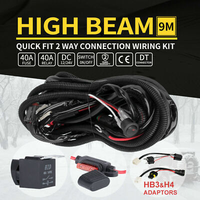 LED Wiring Loom Harness Kits 12V 40A Relay Kit Plug Quick Adaptor  Plug & Play
